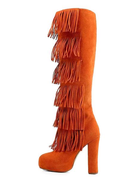 Suede Bohemian Boots Women's Orange Tassel Round Toe Zipper Chunky High Heel Knee Length Long Boots фото