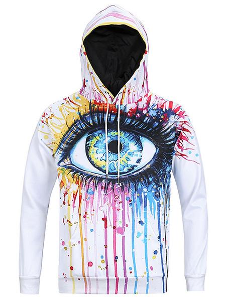 Men's White Hoodie Long Sleeves Hooded Sweatshirt With EYE Print