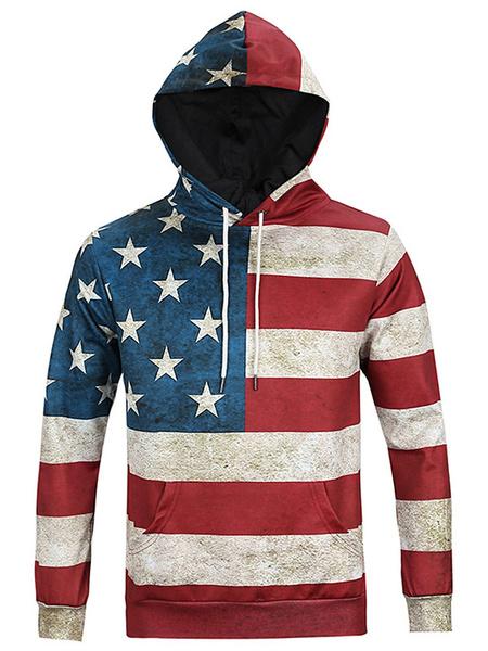 Длинные рукава флаг напечатано толстовка с капюшоном мужской пуловер с капюшоном