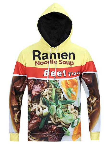 Men's Yellow Hoodie Long Sleeves Hooded Sweatshirt With Noodles Print