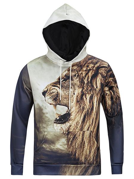 Men's Hoodie Long Sleeves Hooded Sweatshirt With Cat Print