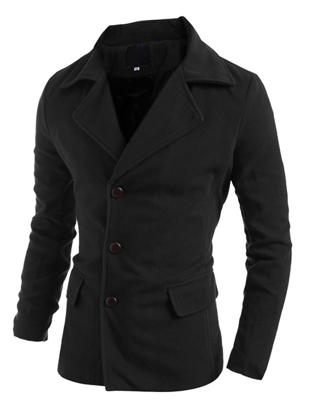 Black Men's Coat Cotton Button Long Sleeve Notch Collar Overcoat фото