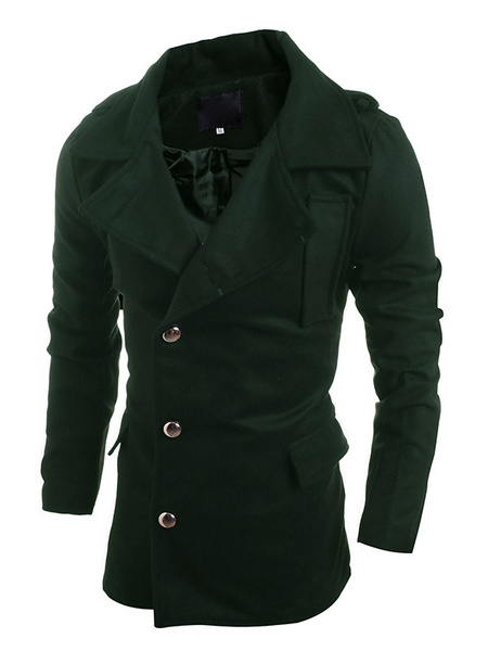 Green Trench Coat Men's Button Cotton Long Sleeve Overcoat фото