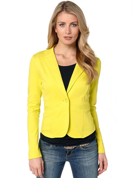 Short Suit Jacket Women's Long Sleeve Pockets Slim Fit Blazer Suit Milanoo фото