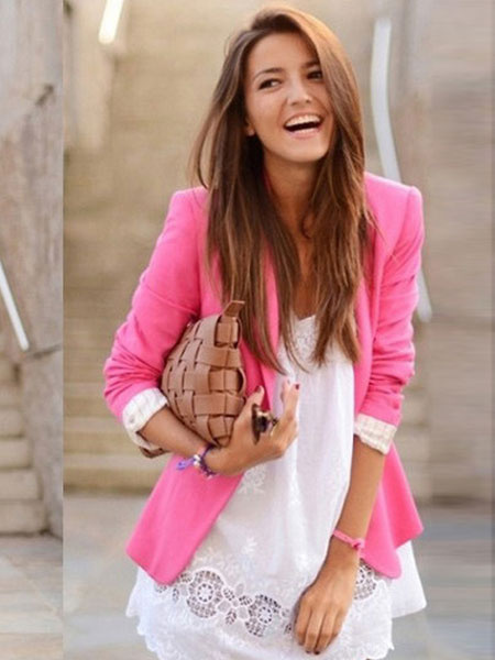 Women's Suit Jacket One Button Pockets Slim Fit Casual Blazer Suit фото