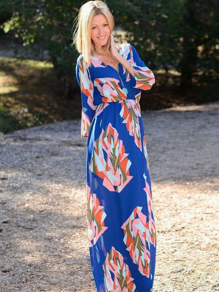 Blue Maxi Dress Floral Print V-neck High Waist Long Sleeve Slim Fit Long Dress