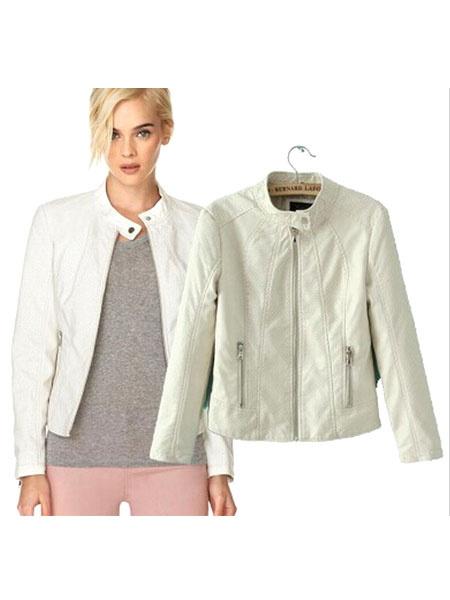 PU Leather Jacket Women's Zippers Oversized Casual White Moto Jacket фото