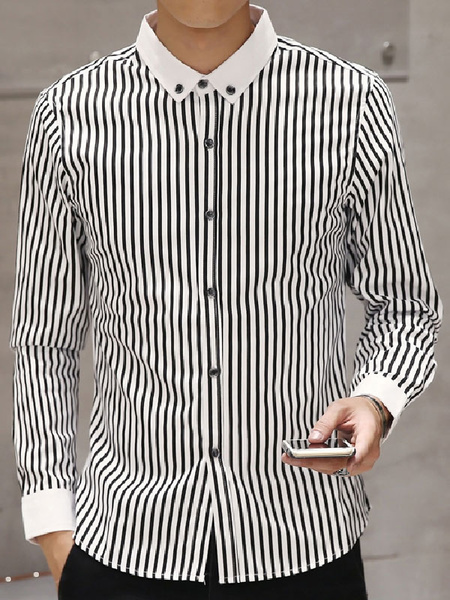 Black Men's Shirt Strip Long Sleeve Cotton Button Casual Shirt фото