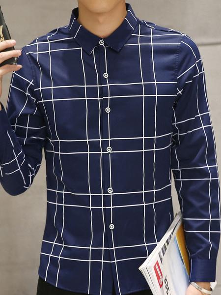 Blue Men's Shirt Plaided Long Sleeve Cotton Button Casual Shirt фото