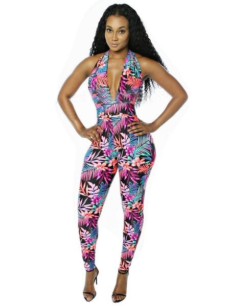 Floral Print Jumpsuit Women's Plunging Backless Lilac Long Jumpsuit