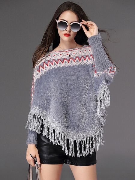 Gray Poncho Coat Women's Batwing Tassels Oversized Cotton Pulover Sweater фото