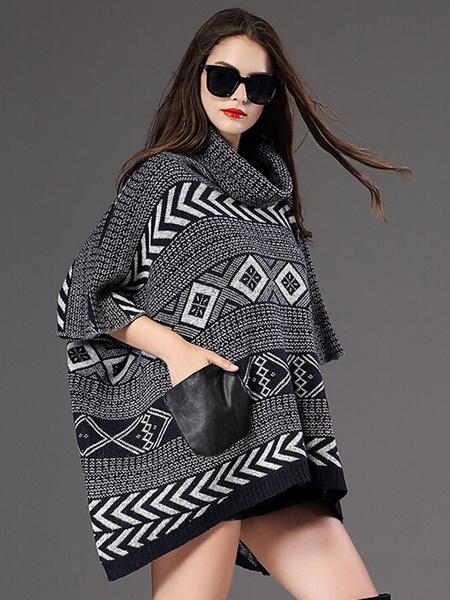 Женский пуловер Batwing свитер половина рукав высокая низкая жаккард пончо свитер