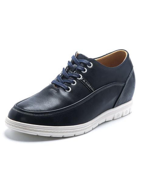 Hidden Heel Sneakers Men's Blue Round Toe Lace-up Leather Casual Shoes фото