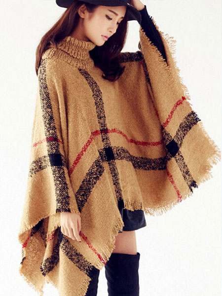 Blanket Poncho Plaid Turtleneck Long Sleeve Outwear With Fringe фото