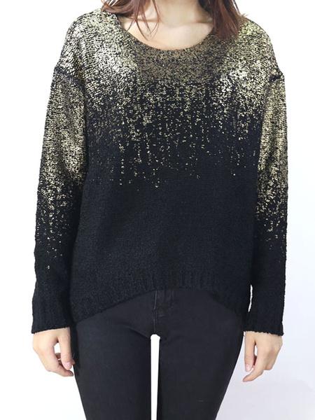 Women's Knitted Sweater Long Sleeve Glitter Ombre Split Pullover Knitwear фото