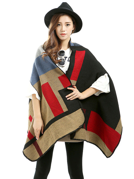 Blanket Poncho Stitching Open Front Cape Coat фото