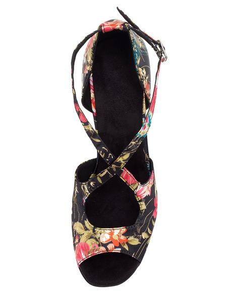 Milanoo / Baile Vintage zapatos Peep impreso Floral acampanado talón correa Cruz frente salón de baile zapatos