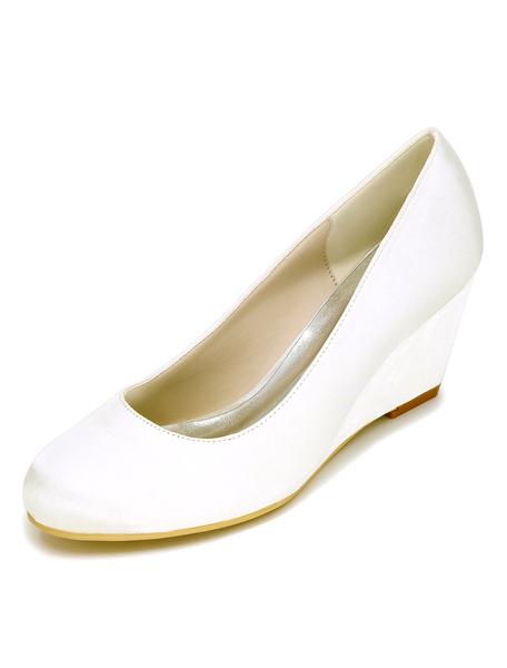 Ivory Wedding Shoes Wedge Heel Elegant Satin Bridal Shoes фото