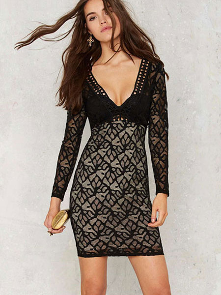 Sexy Black Lace Dress Long Sleeve Deep V-neck Slim Fit Bodycon Dress