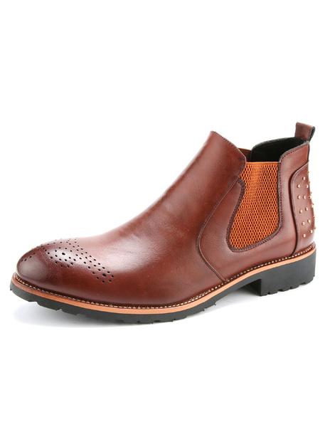 Мужские Челси ботинки Спайк круглый эластичные плоские короткие сапоги