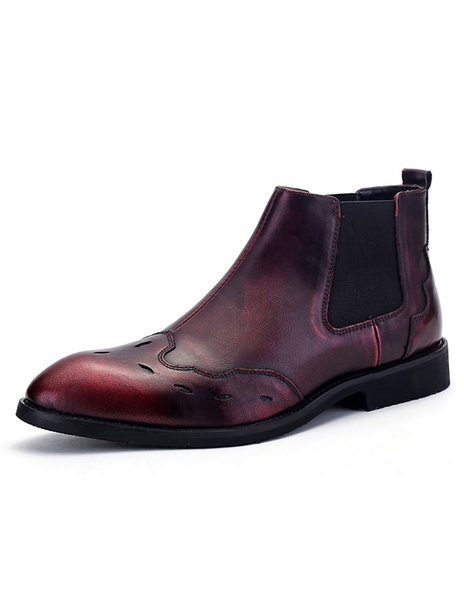 Мужская Челси сапоги старинные круглым носком эластичная проблемных ботильоны
