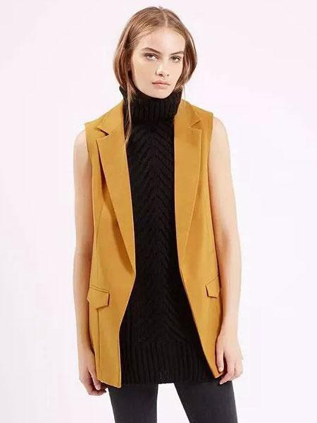 Women's Yellow Vest Turndown Collar Sleeveless Top фото