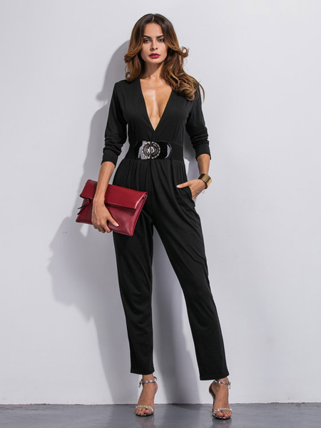 Women's Black Jumpsuit With Long Sleeve V-neck