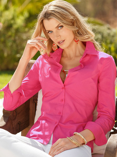 Long Sleeve Shirt Women's Rose Red Button Top фото