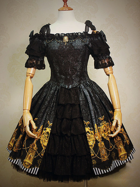 Gothic Lolita Dress Black Bow Printed Ruffles Jacquard Gothic Lolita Dress Suit With Lace Embroidere фото