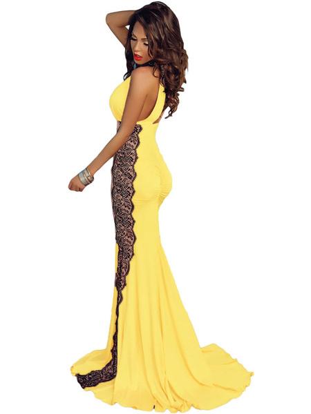 Milanoo / Ojo de la cerradura piso longitud vestido Maxi vestido de encaje de las mujeres de amarillo