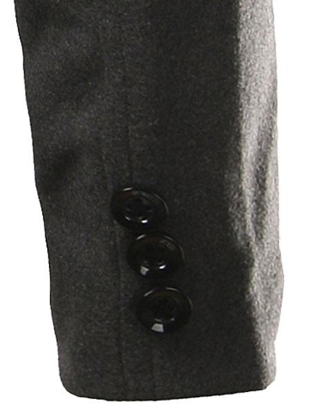Milanoo / Negro manga larga ejército estilo algodón Abrigos Coat de los hombres