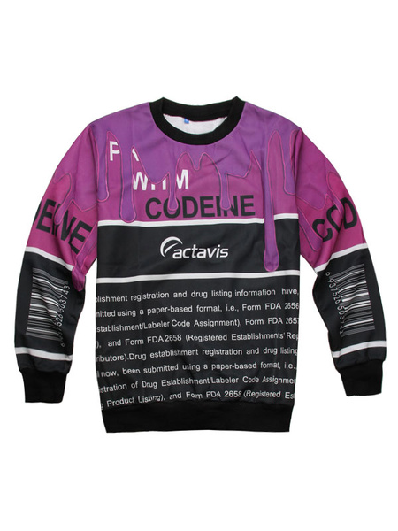 Men's Fuchsia Sweatshirt Long Sleeve Contrast Color Letters Print Casual Tops фото