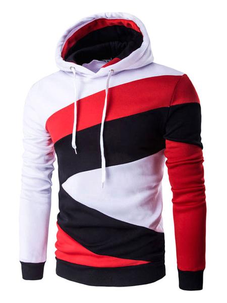 Мужской пуловер с капюшоном цвет блока с длинным рукавом хлопок толстовки