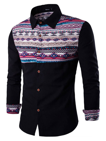 Printed Men's Shirt Long Sleeve Slim Fit Casual Cotton Shirt фото