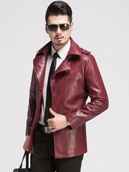 Black/Red Jacket Men's PU Leather Long Sleeve Fashion Jacket фото