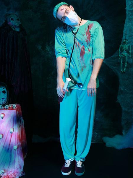 Halloween Costumes Scary Nurse Men's Blue Costume Cosplay With Nurse Hat фото