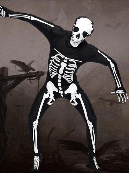 Черный Хэллоуин костюмы дьявола комбинезон мужской скелет косплей костюм