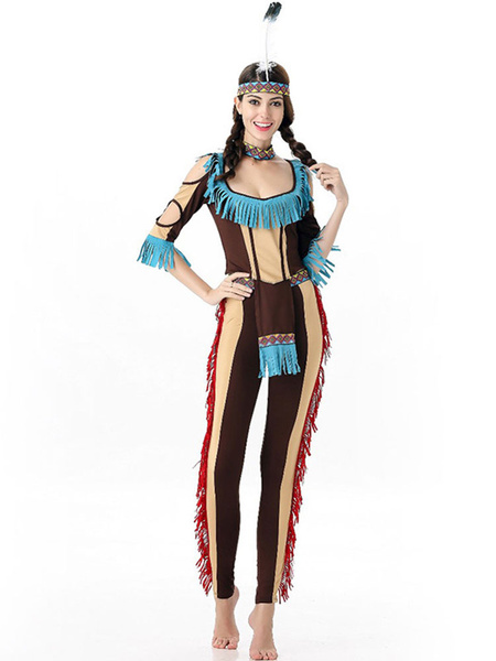 Halloween Costumes Indian Jumpsuit Women's Outfit Cosplay With Indian Headgear фото