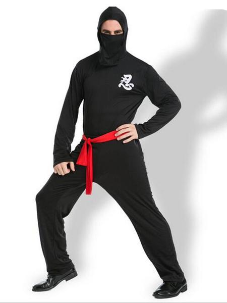 Черный Хэллоуин костюмы ниндзя комбинезон мужской косплей костюм