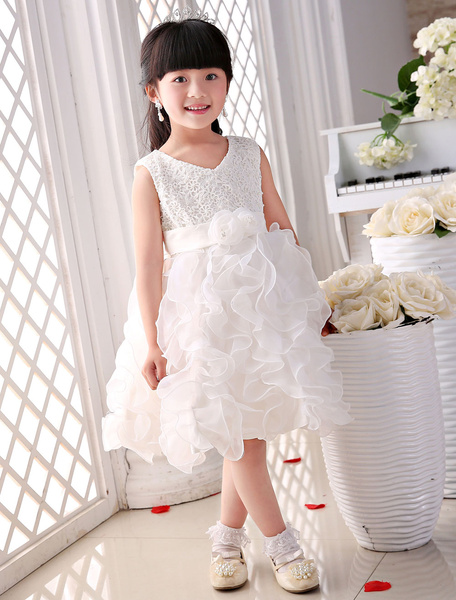 Lace Flower Girl Dresses Ivory Princess Ruffles Tea-length A-Line Satin Bow Pageant Dress With Pearl фото