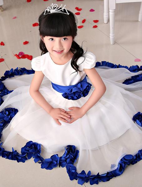 Organza Flower Girl Dresses Ivory Short Sleeve Blue Applique Flower A-Line Tea-Length Ball Gown Dres