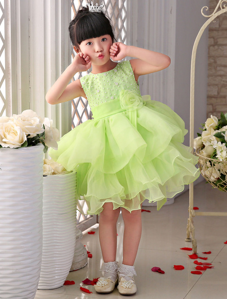 Green Flower Girl Dresses Organza Tea-Length Tiered Princess Dress With Pearl, Sage