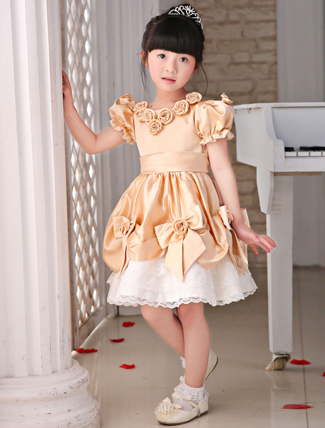 Lace Flower Girl Dresses Champagne Balloon Sleeve Tea-Length Bow Dinner Dress With Flower
