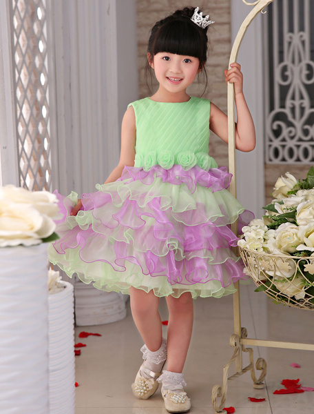 Flower Girl Dresses Tulle Ruffled Two Colors Lovely A-Line Cake Tutu Dresses, Sage
