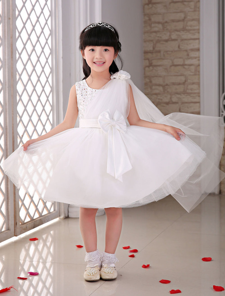 Flower Girl Dresses Tulle Ivory Studded A-Line Tutu Dresses With Side Draping