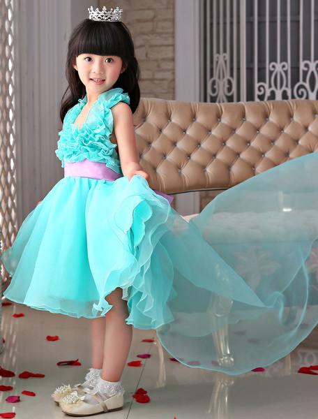 Flower Girl Dresses Blue Organza Ruffled Halter A-Line Pageant Dresses With Train, Light sky blue