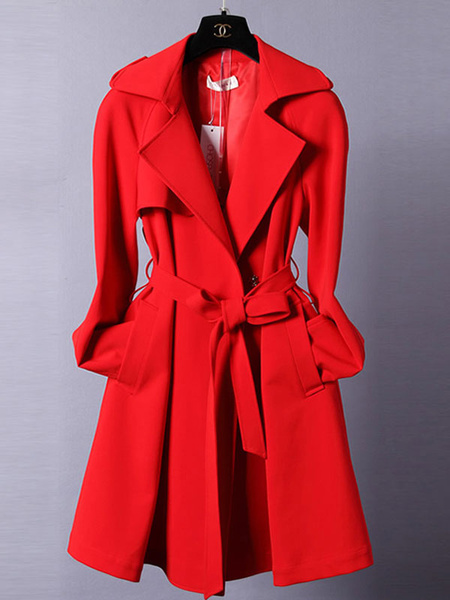 Red Wrap Coat Turndown Collar Long Coat For Women фото