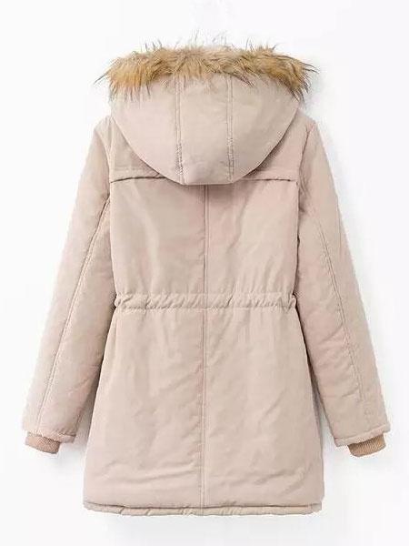 Milanoo / Manga larga chaqueta de piel, abrigo Parka con capucha mujeres abrigo con bolsillos