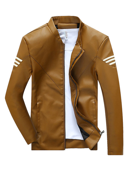 Wolverine Style Brown Men's Jacket PU Leather Zip Up Striped Slim Fit Casual Short Jacket фото