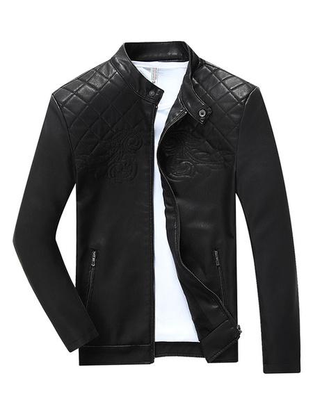 Men's Black Jacket PU Leather Lined Artwork Pattern Zip Up Casual Jacket фото